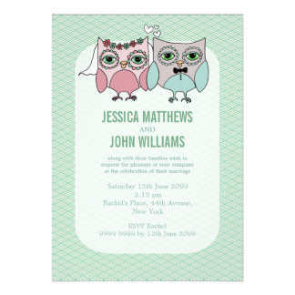 Modern Bride Groom Owl Couple Wedding Invite