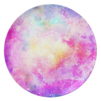 Modern bright pastel nebula watercolor dinner plates