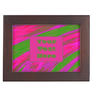 Modern Bright Pink Green Color Swish Keepsake Box