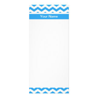 Modern, bright sky blue chevron with business titl 10 cm x 23 cm rack card
