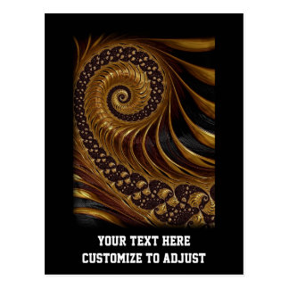 Modern brown fractal spiral pattern postcard