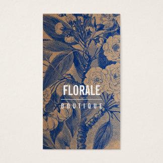 Modern brown paper chic vintage flowers blue paint
