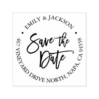 Modern Brush Lettered Save the Date Return Address Self-inking Stamp