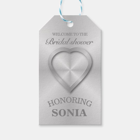 Modern Brushed Metal Heart Bridal Shower Gift Tags