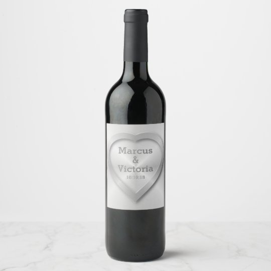 Modern Brushed Metal Wedding Wine Label