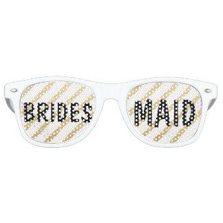 Modern brushstrokes gold stripe wedding Bridesmaid Retro Sunglasses