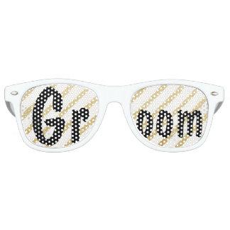Modern brushstrokes gold stripes wedding Groom Retro Sunglasses
