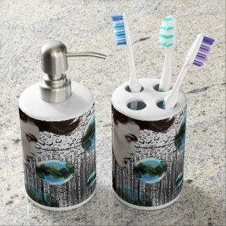 Modern Bubble black white teal blue holder Soap Dispensers