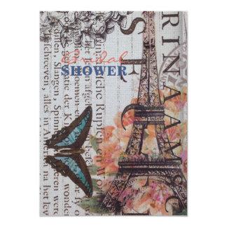 "modern butterfly scripts eiffel tower paris 4.5"" x 6.25"" invitation card"