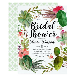 Modern Cactus Succulent Floral Bridal Shower Card