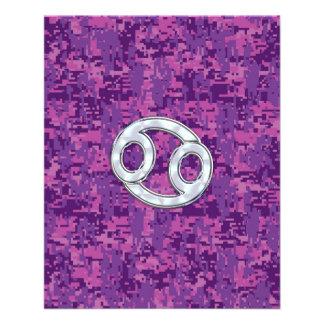 Modern Cancer Zodiac Symbol on Pink Digital Camo 11.5 Cm X 14 Cm Flyer
