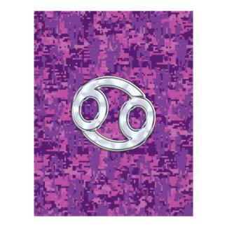 Modern Cancer Zodiac Symbol on Pink Digital Camo 21.5 Cm X 28 Cm Flyer