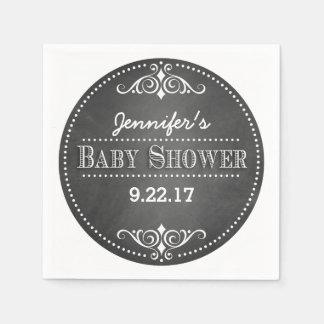 Modern Chalkboard Baby Shower Paper Serviettes
