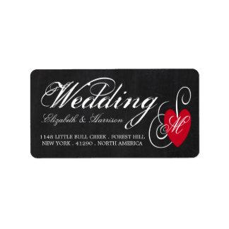 Modern Chalkboard Fancy Heart Wedding Address Label
