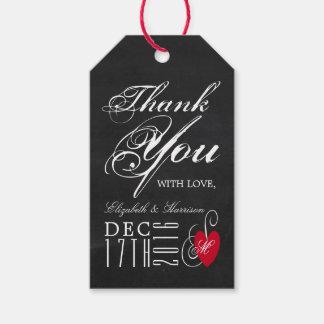 Modern Chalkboard Fancy Heart Wedding Gift Tags