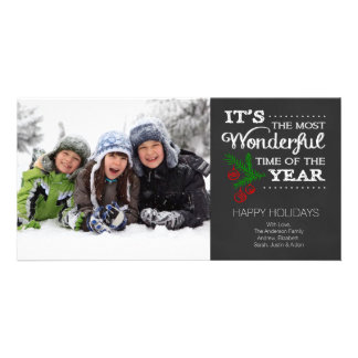 Modern Chalkboard Typography Holiday Photo Card Custom Photo Card