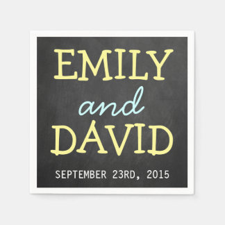 Modern Chalkboard Typography Wedding Napkins Disposable Napkins