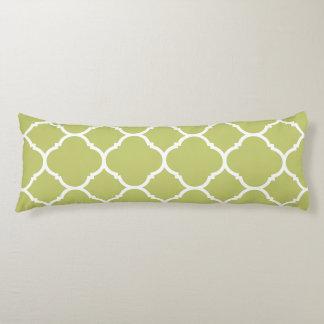 Modern Chartreuse Green Quatrefoil  Body Pillow