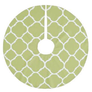 Modern Chartreuse Quatrefoil Lattice Pattern Brushed Polyester Tree Skirt