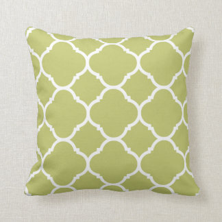 Modern Chartreuse Quatrefoil Pattern Cushion