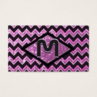 Modern Chevron Art Monogram Business Card