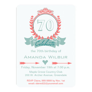 Modern Chevron Coral Blue 70th Birthday Invitation