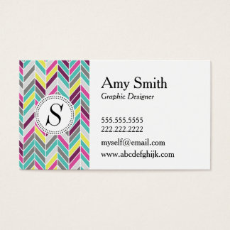 Modern Chevron Monogram Business Card