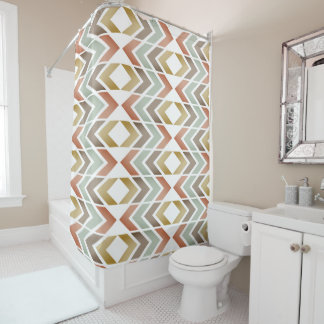 Modern Chevron Pattern Green Brown Shower Curtain
