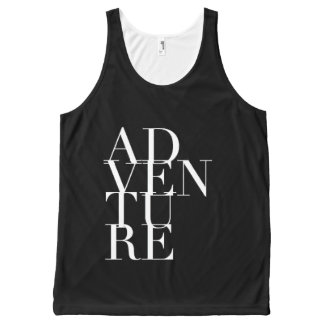 Modern & Chic Adventure Stacked Typography All-Over Print Singlet