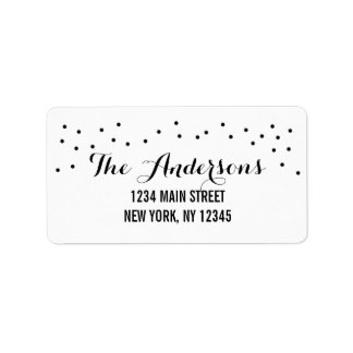 Modern Chic Black and White Dots Label