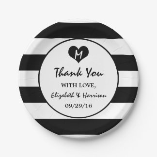 Modern Chic Black and White Wedding Paper Plate