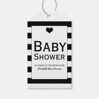 Modern Chic Black & White Baby Shower Gift Tags