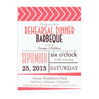 Modern Chic Coral Rehearsal Dinner Barbeque Card
