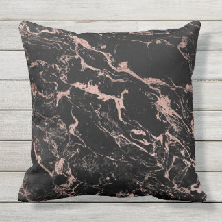 Modern chic faux rose gold foil black marble outdoor cushion
