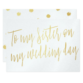 "Modern Chic Gold ""To my sister on my wedding day"" Card"