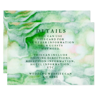 Modern Chic Green Watercolor Wedding Information Card