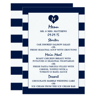 Modern Chic Navy Blue & White Wedding Menu Card