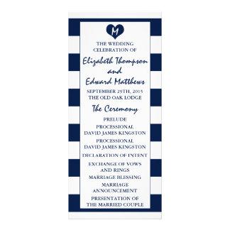 Modern Chic Navy Blue & White Wedding Program Rack Card
