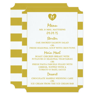 Modern Chic Old Gold Wedding Menu Card