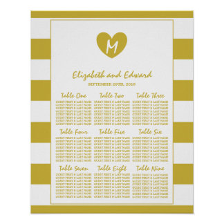 Modern Chic Old Gold Wedding Seating Chart Poster