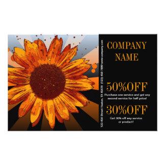 modern chic orange sunflower florist 14 cm x 21.5 cm flyer