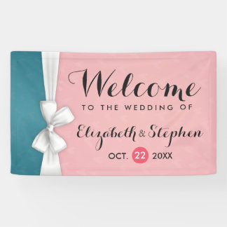 Modern Chic Pink Blue White Ribbon Wedding Banner