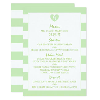 Modern Chic Tea Green Wedding Menu Card