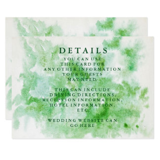 Modern Chic Watercolor Wedding Information Card