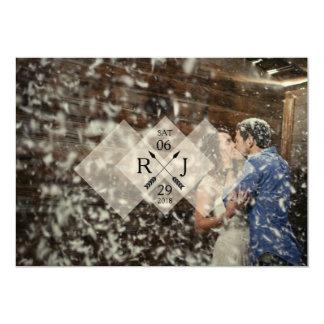Modern & Chic White Graphic Overlay | Wedding Card