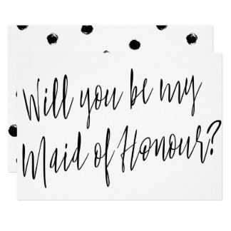 """Modern Chic """"Will you be my maid of honour"""" Card"""