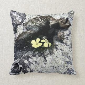 Modern Chic Yellow Flowers Tree Stump Photo Throw Pillow