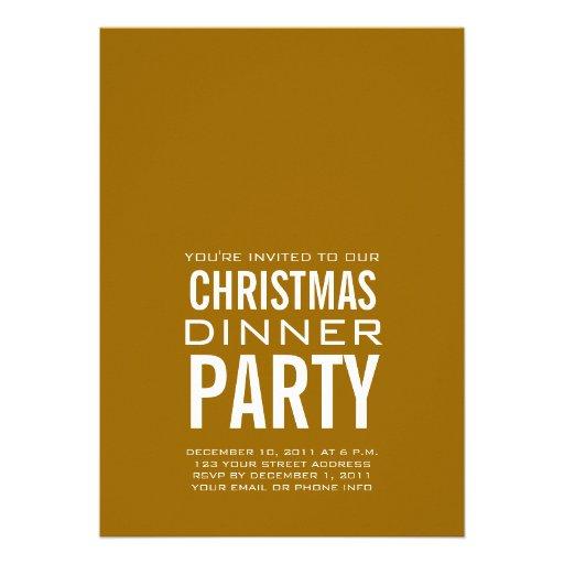 MODERN CHRISTMAS DINNER PARTY INVITATION GOLD