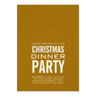 MODERN CHRISTMAS DINNER PARTY INVITATION GOLD