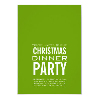 "MODERN CHRISTMAS DINNER PARTY INVITATION GREEN 5"" X 7"" INVITATION CARD"